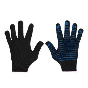 Черные перчатки хб с пвх точка
